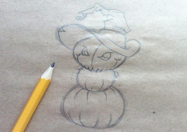 Поэтапный рисунок тыквенного персонажа на Хэллоуин - этап 5