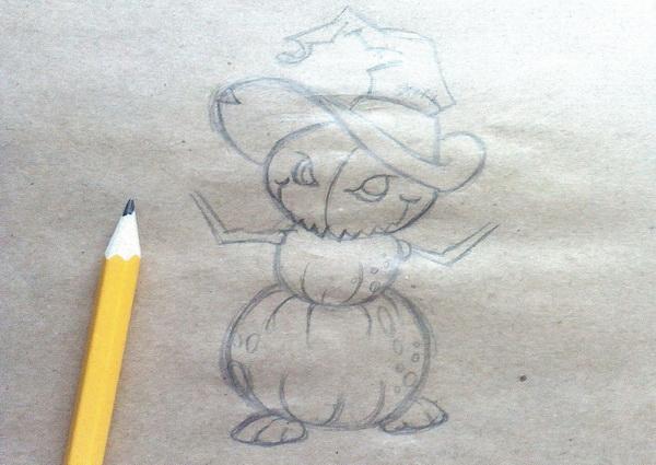 Поэтапный рисунок тыквенного персонажа на Хэллоуин - этап 6