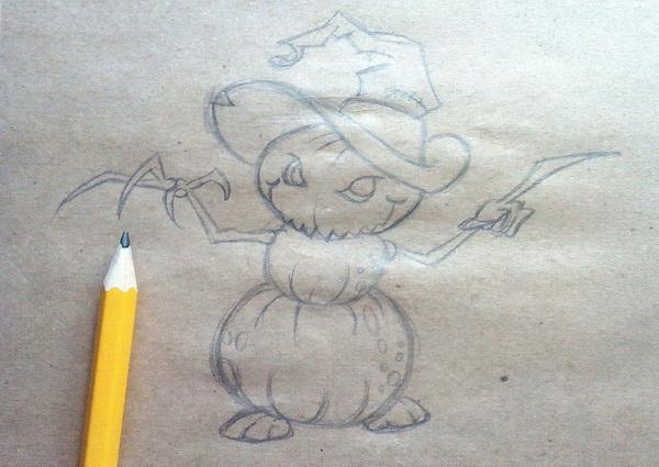 Поэтапный рисунок тыквенного персонажа на Хэллоуин - этап 7