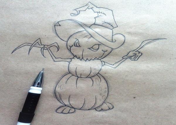 Поэтапный рисунок тыквенного персонажа на Хэллоуин - этап 8