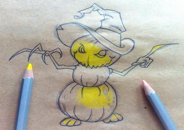 Поэтапный рисунок тыквенного персонажа на Хэллоуин - этап 9
