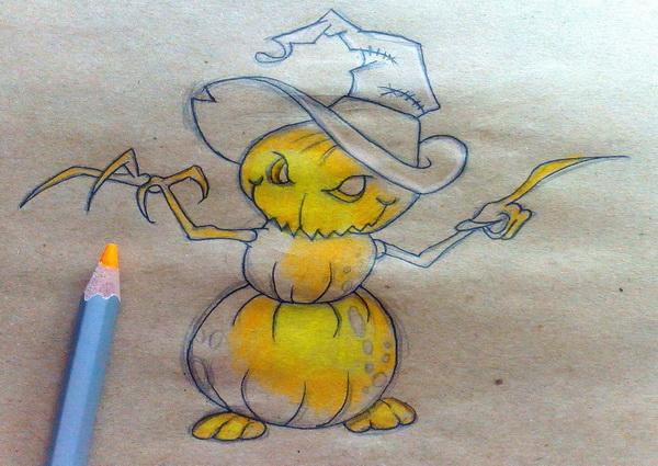 Поэтапный рисунок тыквенного персонажа на Хэллоуин - этап 10