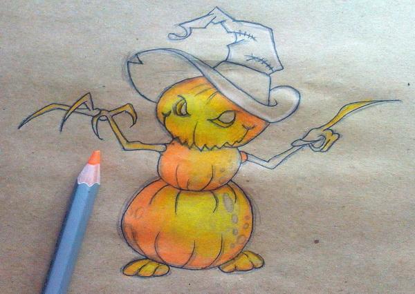 Поэтапный рисунок тыквенного персонажа на Хэллоуин - этап 11