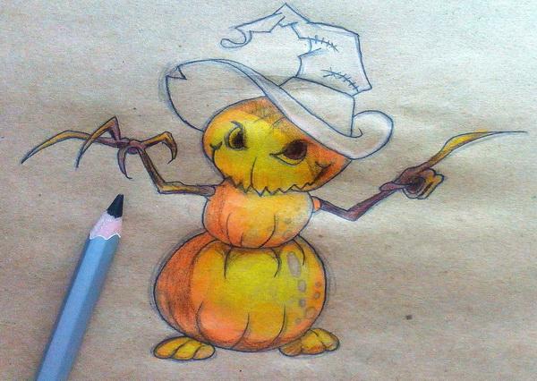 Поэтапный рисунок тыквенного персонажа на Хэллоуин - этап 12