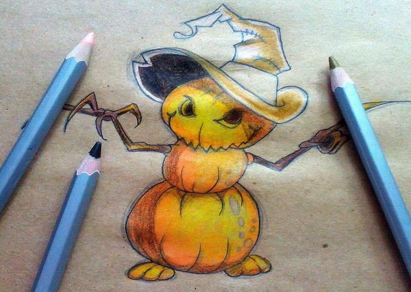 Поэтапный рисунок тыквенного персонажа на Хэллоуин - этап 13