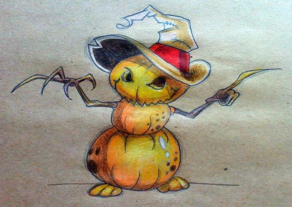 Поэтапный рисунок тыквенного персонажа на Хэллоуин - этап 14