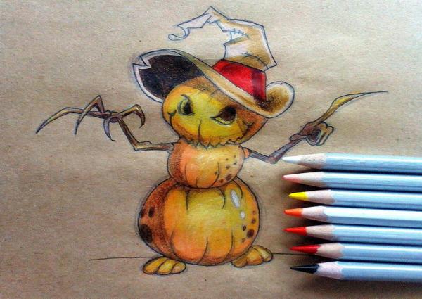 Красивый рисунок на тему Хэллоуин в виде тыквенного персонажа