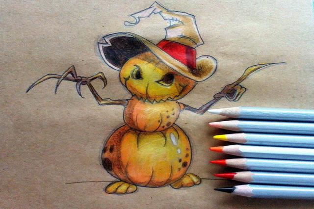 Поэтапный рисунок тыквенного персонажа на Хэллоуин