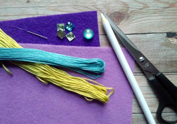 Красивый браслет из фетра с вышивкой своими руками - инструменты и материалы