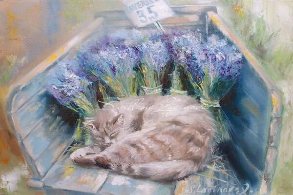 Картина Светланы Логиновой - Продавец лаванды