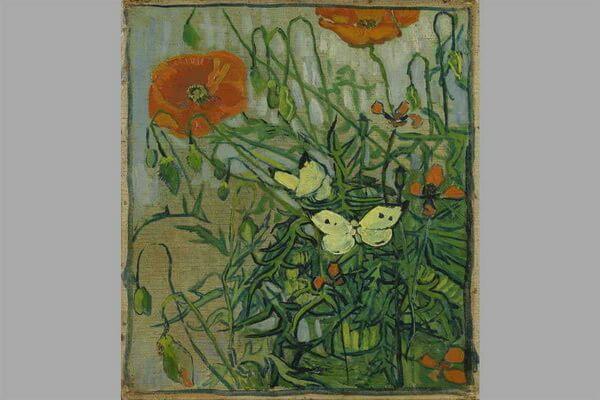 Маки в живописи - Ван Гог, «Маки и бабочки» (1890)