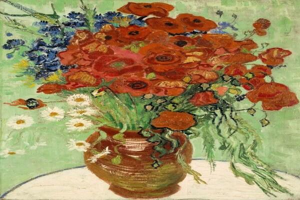 Маки в живописи - Ван Гог, «Ваза с ромашками и маками» (1890)