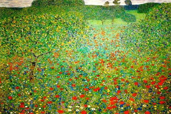 Маки в живописи - Густав Климт, «Маковое поле» (1907)