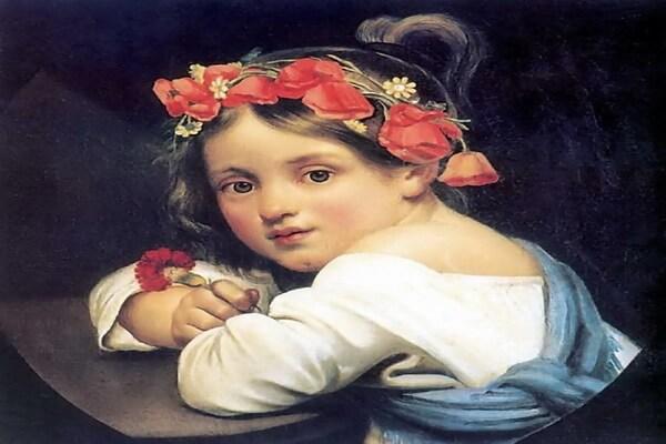 Маки в живописи - Орест Кипренский – «Девочка в маковом венке с гвоздикой в руке» (1819)
