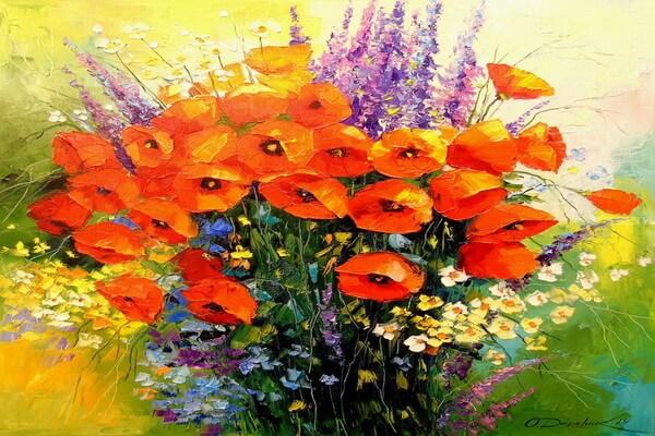 Букет из маков и полевых цветов на картине Ольги Дарчук