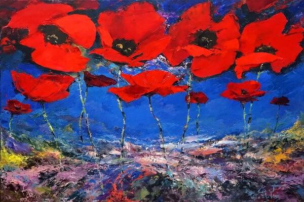 Маки в живописи - Евгений Гусельников, «Вечерние маки»