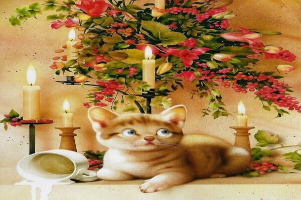 Милые кошки японского художника Макото Мурамацу