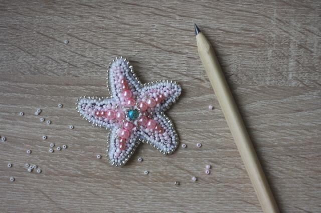 Морская звезда из бисера - мастер-класс по созданию броши