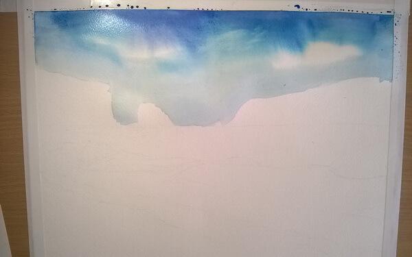 Морской пейзаж акварелью поэтапно - шаг 4