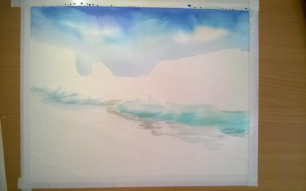 Морской пейзаж акварелью поэтапно - шаг 5