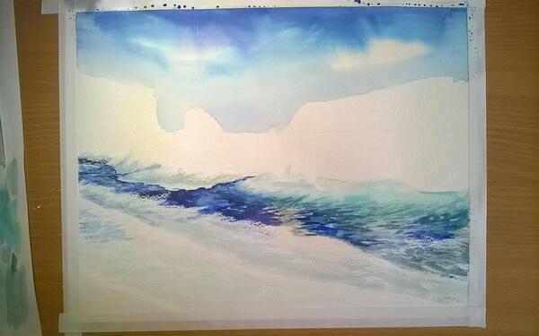 Морской пейзаж акварелью поэтапно - шаг 7