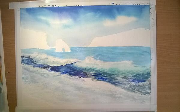 Морской пейзаж акварелью поэтапно - шаг 8