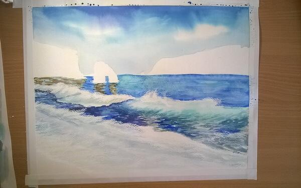 Морской пейзаж акварелью поэтапно - шаг 9