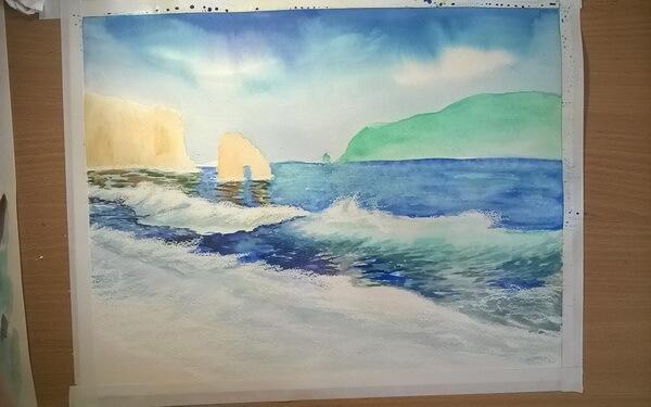 Морской пейзаж акварелью поэтапно - шаг 10