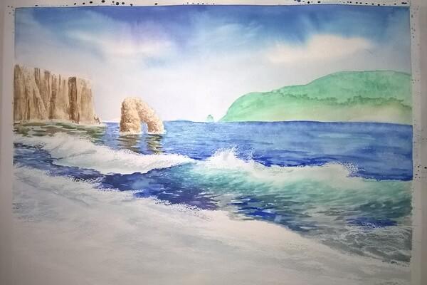 Морской пейзаж акварелью поэтапно - шаг 12