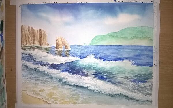 Морской пейзаж акварелью поэтапно - шаг 13