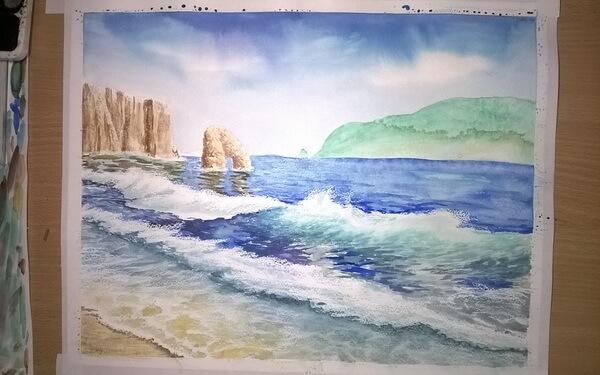 Морской пейзаж акварелью поэтапно - шаг 14