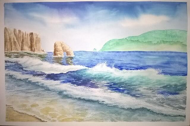 Морской пейзаж акварелью - поэтапный урок рисования для начинающих