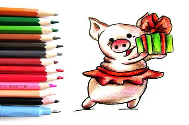 Как нарисовать свинку - поэтапный урок рисования для начинающих