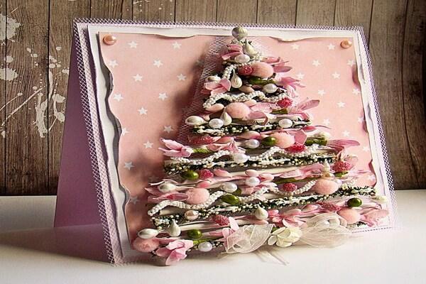 Красивые новогодние открытки в технике скрапбукинг с ёлочками своими руками