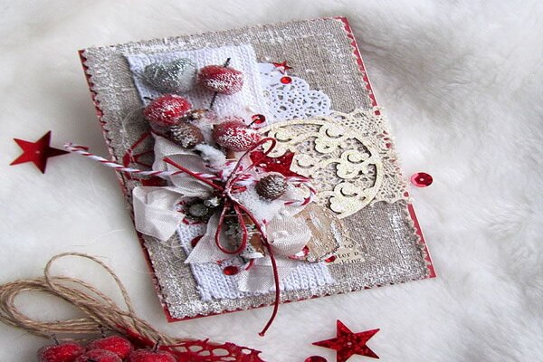 Красивые новогодние открытки скрапбукинг своими руками - идеи с фото