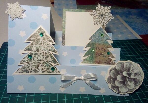 Как сделать объёмную новогоднюю открытку - шаг 15