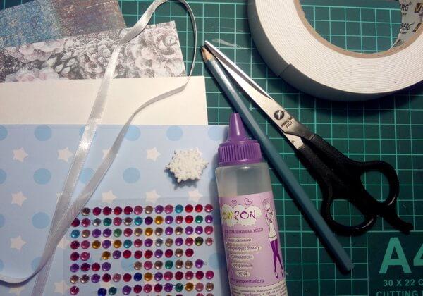 Новогодняя 3D-открытка своими руками - инструменты и материалы