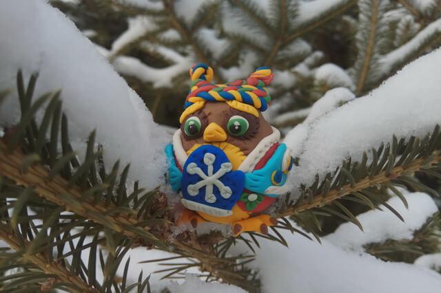Новогодняя игрушка сова своими руками из полимерной глины