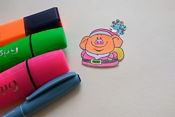 Новогодняя открытка со свинкой своими руками - пошаговый мастер-класс - шаг 2