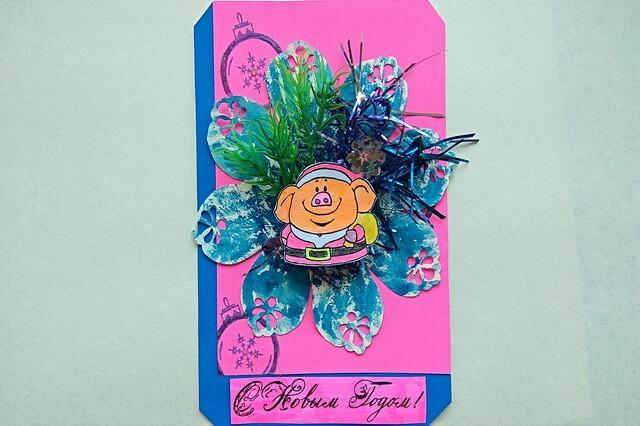 Новогодняя открытка со свинкой своими руками - пошаговый мастер-класс