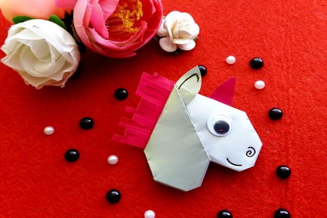 Оригами голова единорога – красивая закладка-уголок своими руками