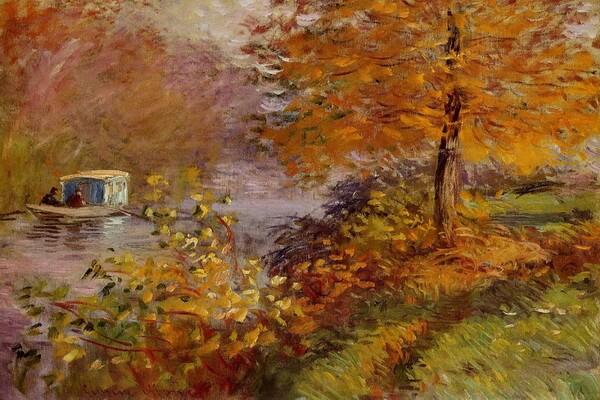 Осень в живописи художников - Лодка-студия (1876 г.), Клод Моне