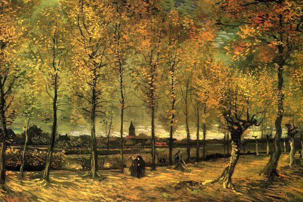 Осень в живописи - Тополиная аллея осенью, Ван Гог