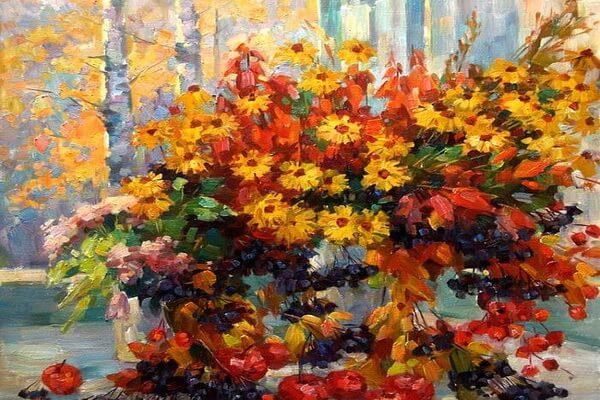 Натюрморты с осенними цветами