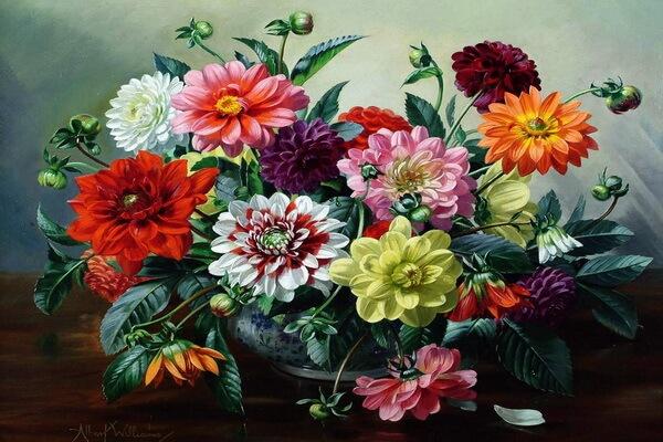 Осенние цветы в живописи - «Чаша с георгинами» Альберта Вильямса