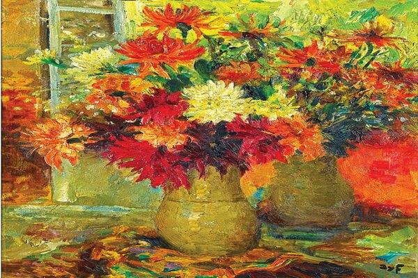 Осенние цветы в живописи - «Георгины» Диф Марсель