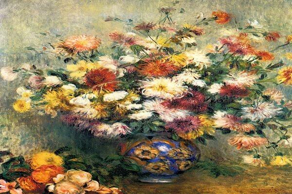 Осенние цветы в живописи - «Ваза с хризантемами», Моне Ренуар