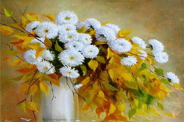 Осенние цветы в живописи