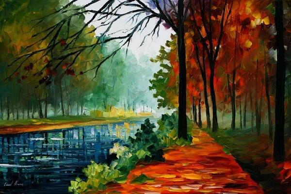 Осень на картинах Леонида Афремова