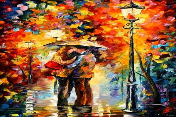 Поцелуй под дождём - осенняя картина Леонида Афремова